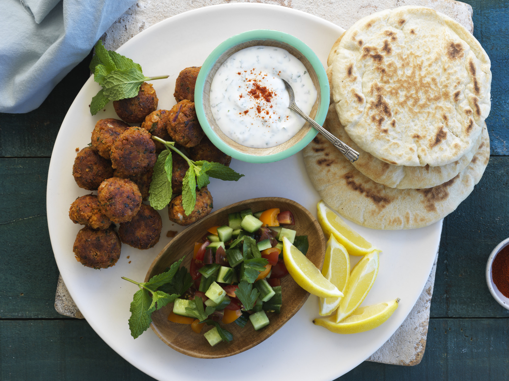 Crispy Spiced Falafels with Yoghurt and Mint Dressing