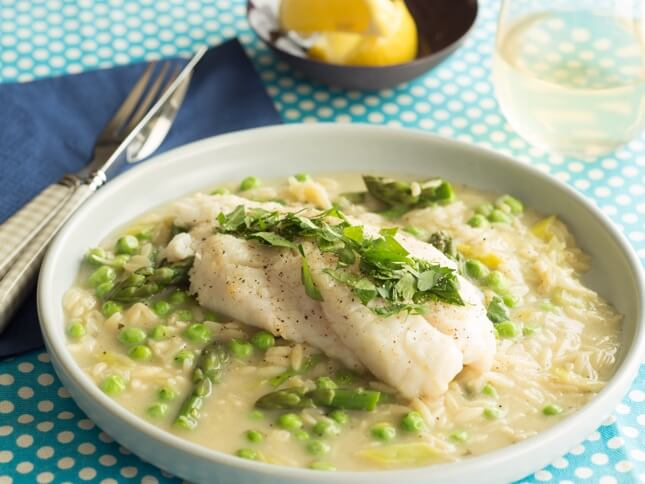Fish with Summer Vegetables & White with Parsley Finishing Sauce