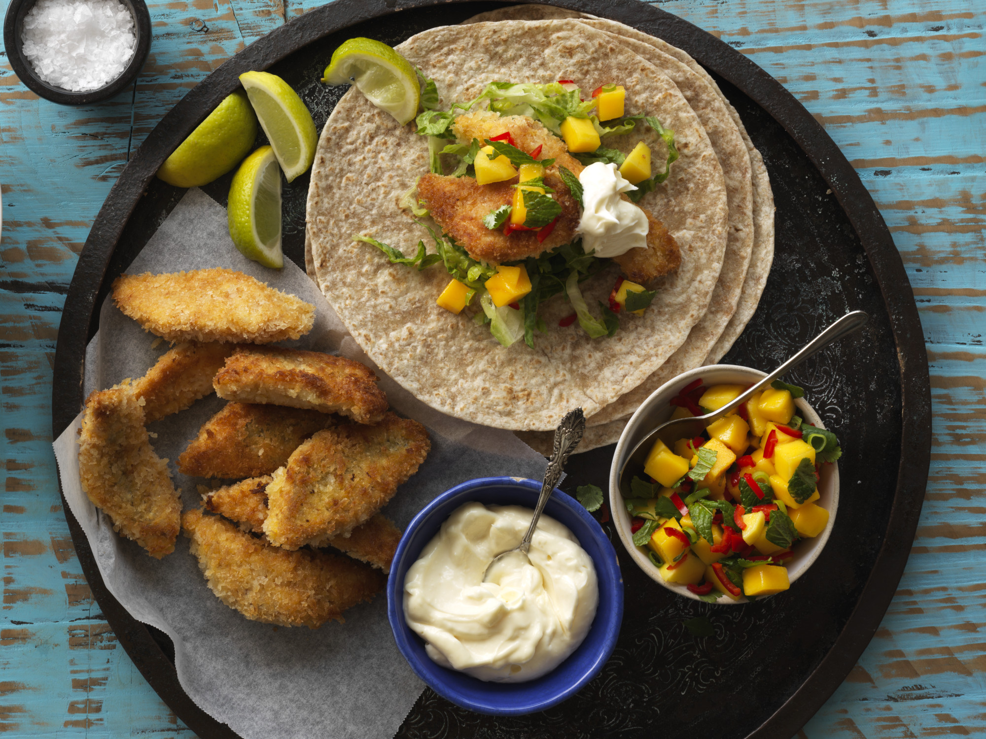 Crispy Fish Tacos with Mango Salsa