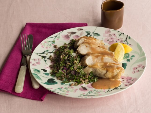 Lemon Chicken with Lentil Salad & Chicken Gravy image