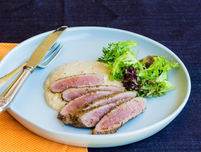 Spice Crusted Lamb with Eggplant Puree