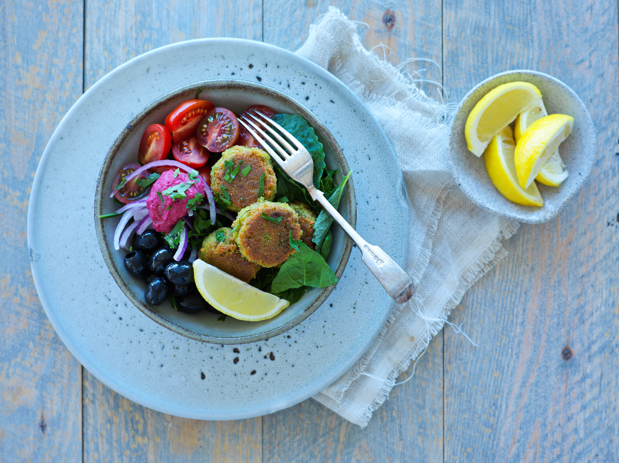 Mediterranean Salad Bowl with Pea Falafels