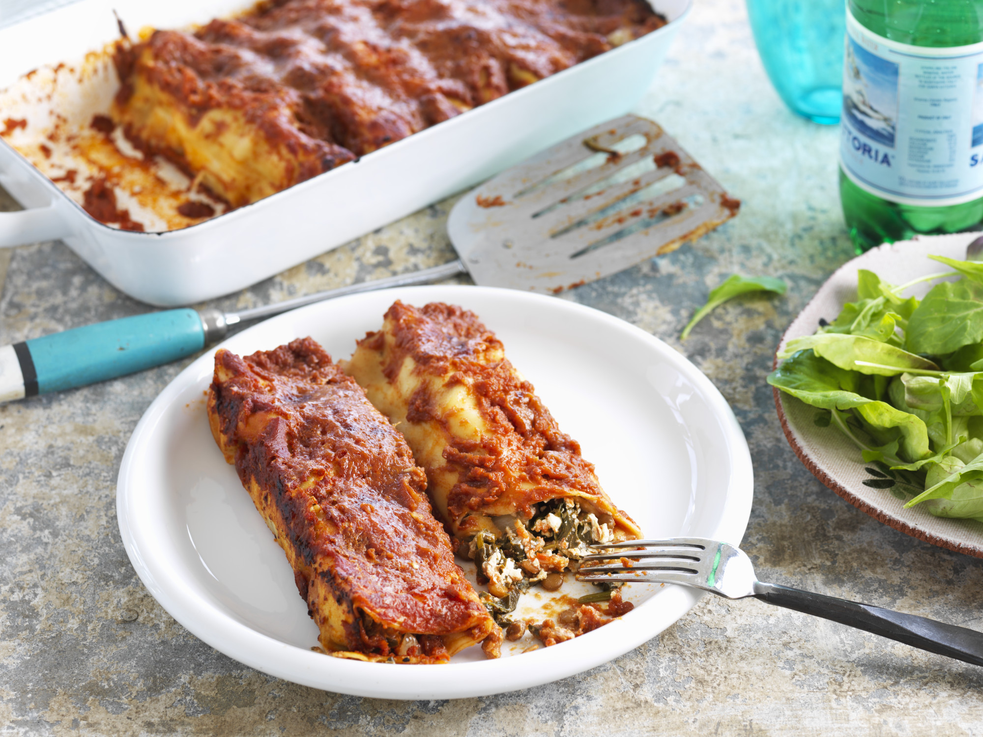 Lentil and Spinach Cannelloni